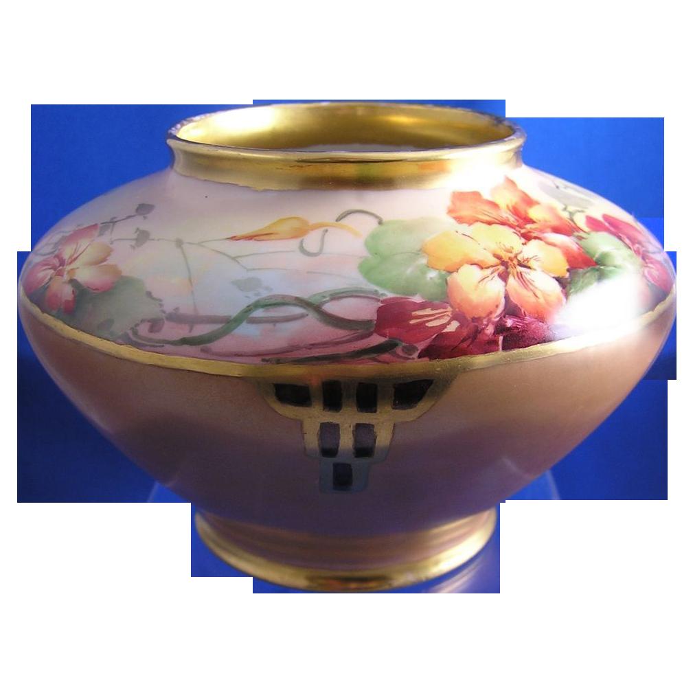 Gerard, Dufraisseix & Abbot (GDA) Limoges Nasturtium Motif Vase (c.1900-1941)