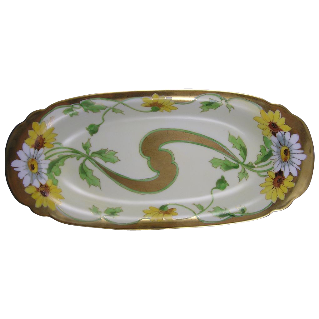 "Stouffer Studios Daisy Motif Serving Dish/Tray (Signed ""A. Piron""/c.1906-1914)"