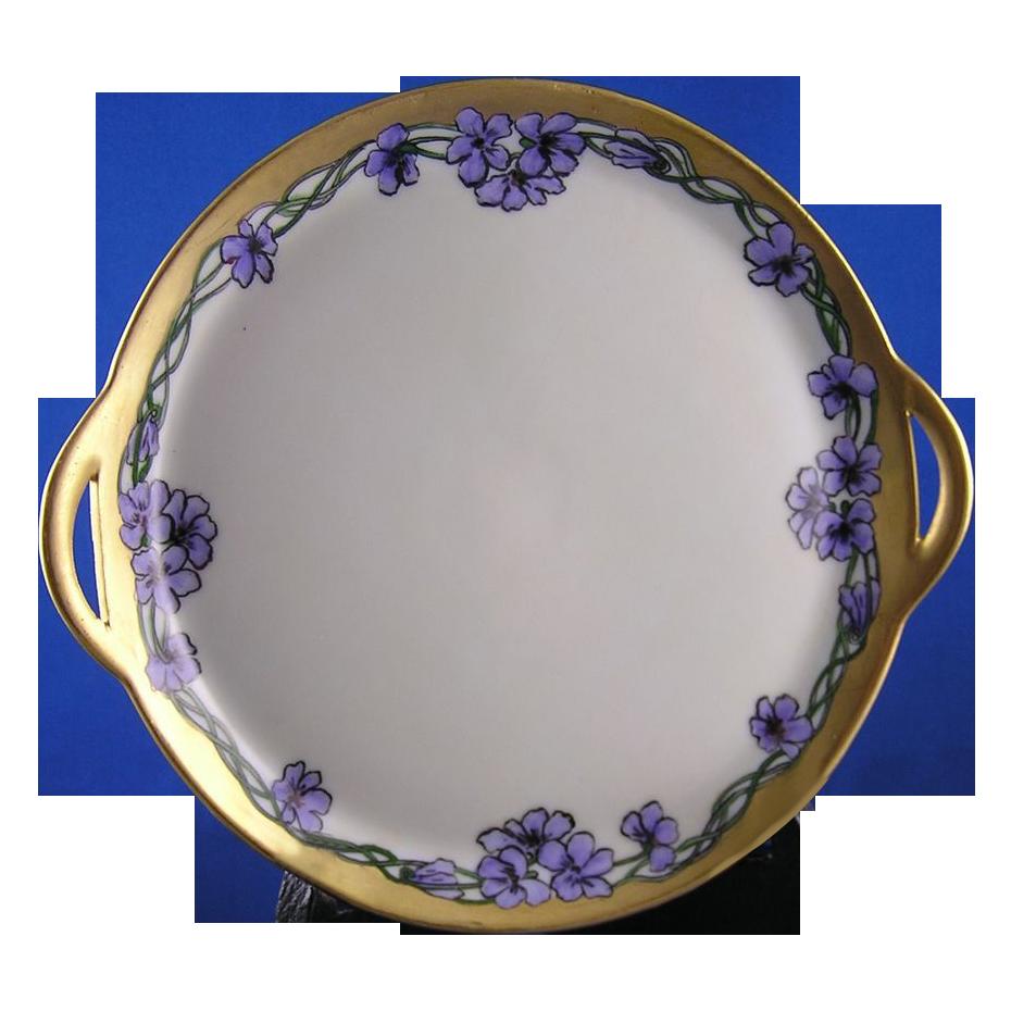 Favorite Bavaria Violet Motif Handled Plate (c.1900-1930)