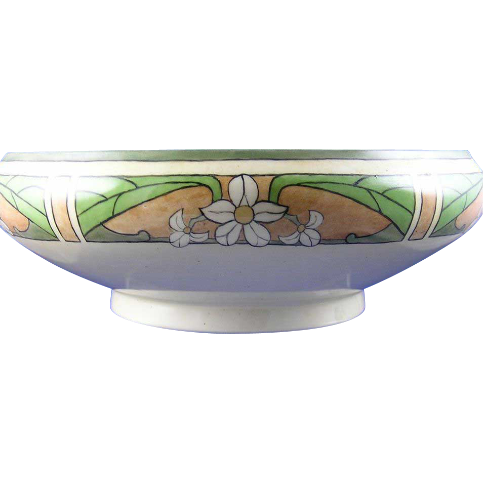 Jean Pouyat (JP) Limoges Arts & Crafts Floral Motif Centerpiece Bowl (c.1916-1932) - Keramic Studio Design