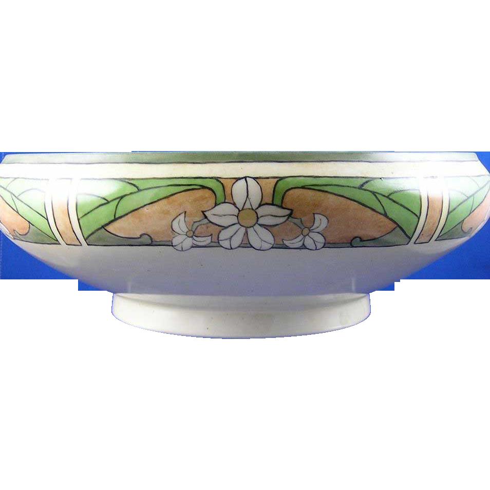 Jean Pouyat (JP) Limoges Arts & Crafts Floral Motif Centerpiece Bowl (c.1890-1932)