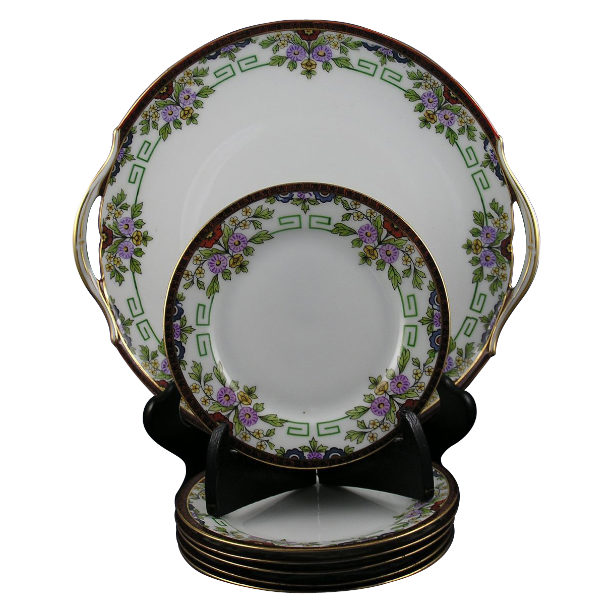PH Leonard Austria/Imperial Crown Austria 7-Piece Dessert Plate Set (c.1890-1908)