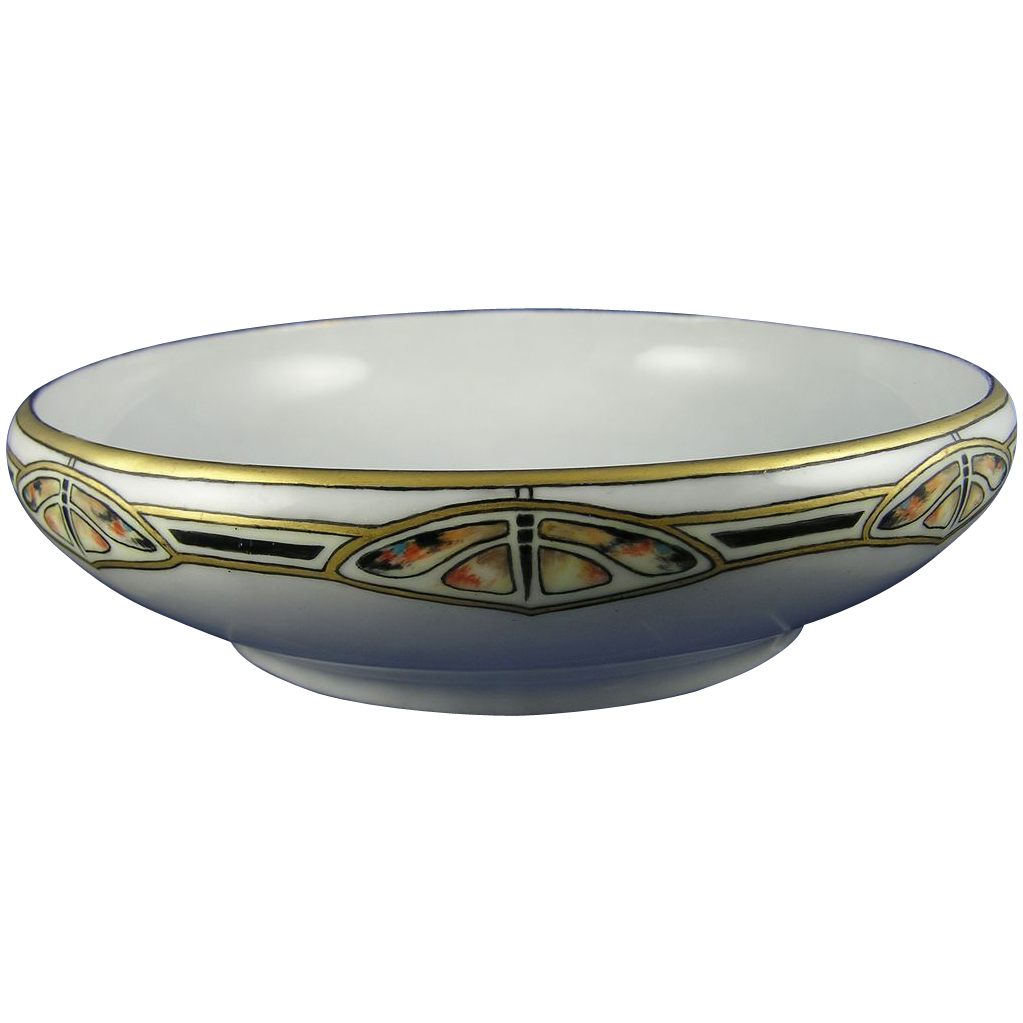 "Rosenthal Bavaria Arts & Crafts Butterfly Motif Bowl (Signed ""A.C. Middleton""/Dated 1916) - Keramic Studio Design"