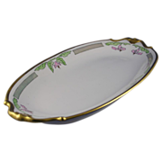 "Bernardaud & Co. (B&Co.) Limoges Arts & Crafts Floral Motif Serving Dish (Signed ""Jean R""/Dated 1922) - Keramic Studio Design"