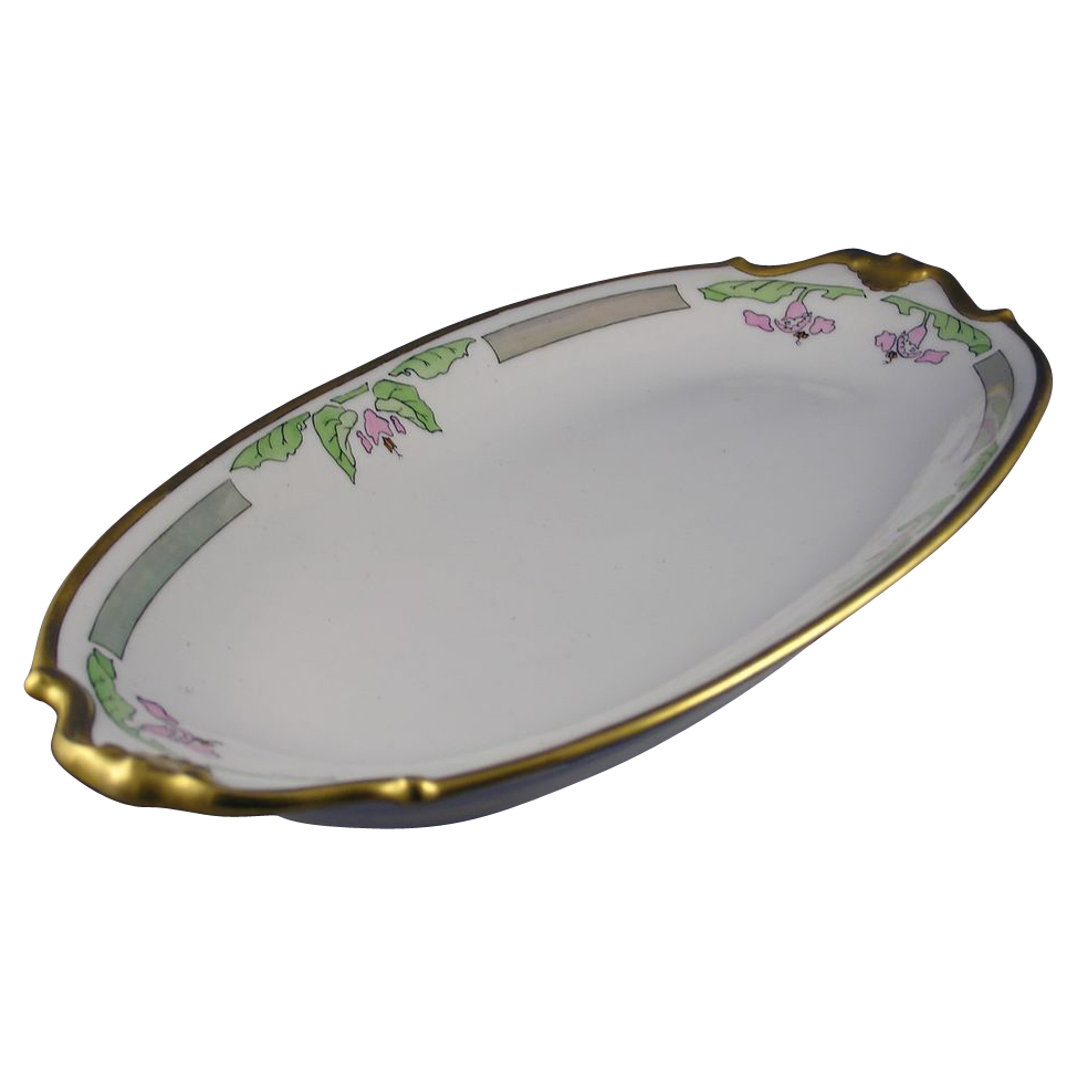 "Bernardaud & Co. (B&Co.) Limoges Arts & Crafts Floral Motif Serving Dish (Signed ""Jean R""/Dated 1922)"