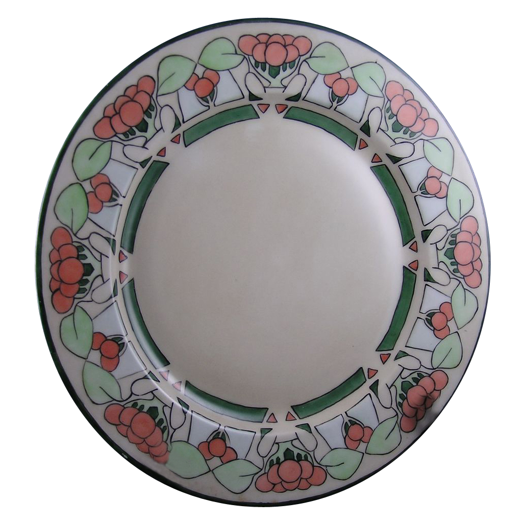 "Limoges Mark 6 Arts & Crafts Berry Design Plate (Signed ""E. Winters""/c.1891-1930)"
