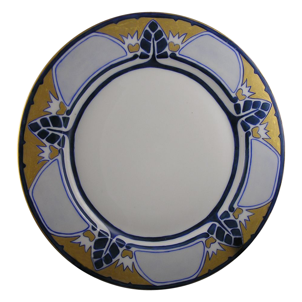 "Limoges Mark 6 Arts & Crafts Geometric Leaf Design Plate (Signed ""E. Winters""/c.1891-1930)"