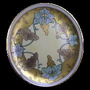 """Laviolette Limoges Pickard Studios """"Lustre Grapes"""" Design Plate (Signed """"Hessler""""/c.1905-1910)"""