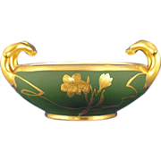 Bavaria Blank Stouffer Studios Matte Green & Gold Floral Handled Bowl (c.1906-1914)