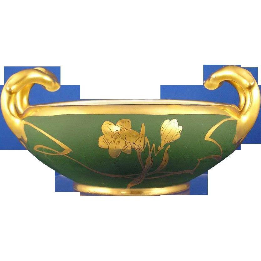Bavaria Blank Stouffer Studios Matte Green & Gold Floral Handled Bowl (c.1906-1914)