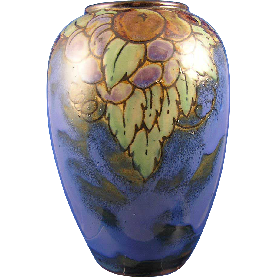 Royal Doulton Lambeth Arts & Crafts Fruit Motif Vase (Signed by Lily Partington/c.1923-1927)