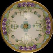 """Favorite Bavaria Pickard Studios """"Violets In Panels"""" Design Bowl (Signed """"Wight""""/c.1910-1912)"""