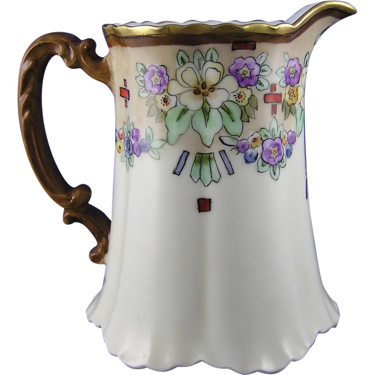 "Haviland Limoges Arts & Crafts Floral Motif Pitcher (Signed ""Isabelle C. Ayers""/c.1894-1931)"