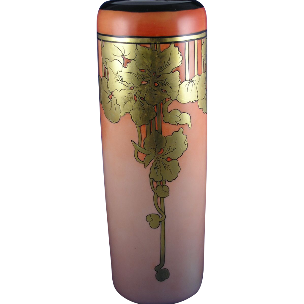 Large PH Leonard Austria Gold & Orange Arts & Crafts Vine Motif Vase (c.1890-1908)