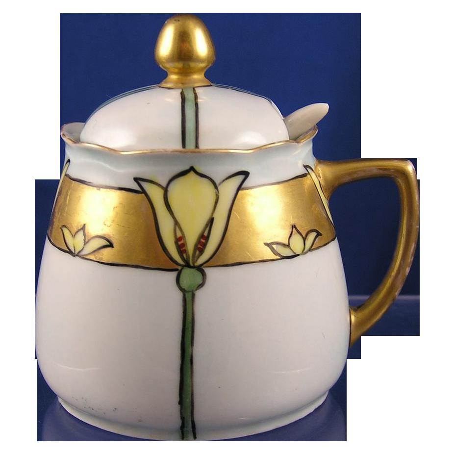 Hermann Ohme Silesia Arts & Crafts Floral Motif Condiment Jar Set (c.1882-1939)