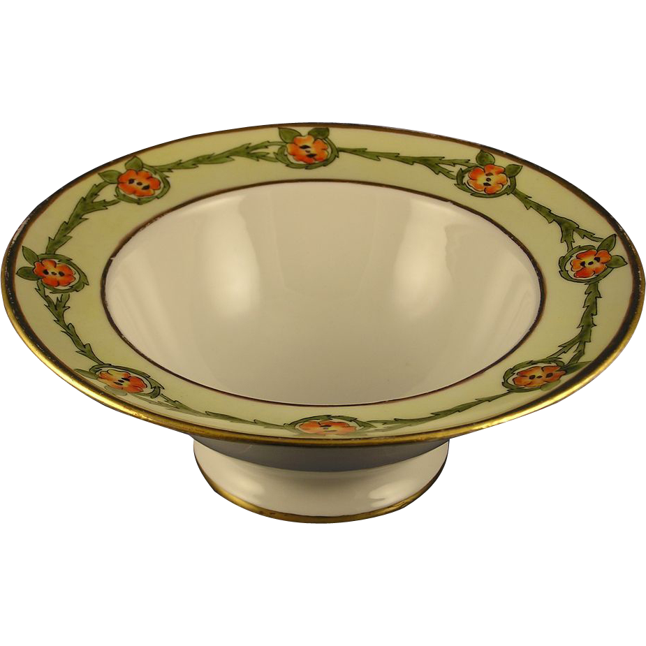 "Jean Pouyat (JP) Limoges Arts & Crafts Floral Design Bowl (Signed ""M.N. Sager""/Dated 1911)"