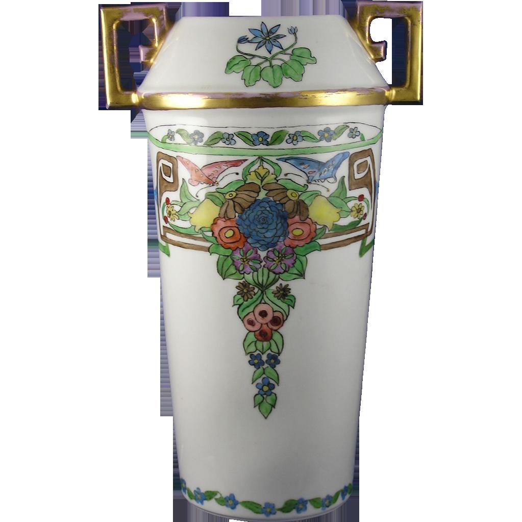 C. Tielsch (CT) Altwasser Silesia Arts & Crafts Floral & Butterfly Motif Vase (c.1895-1918)