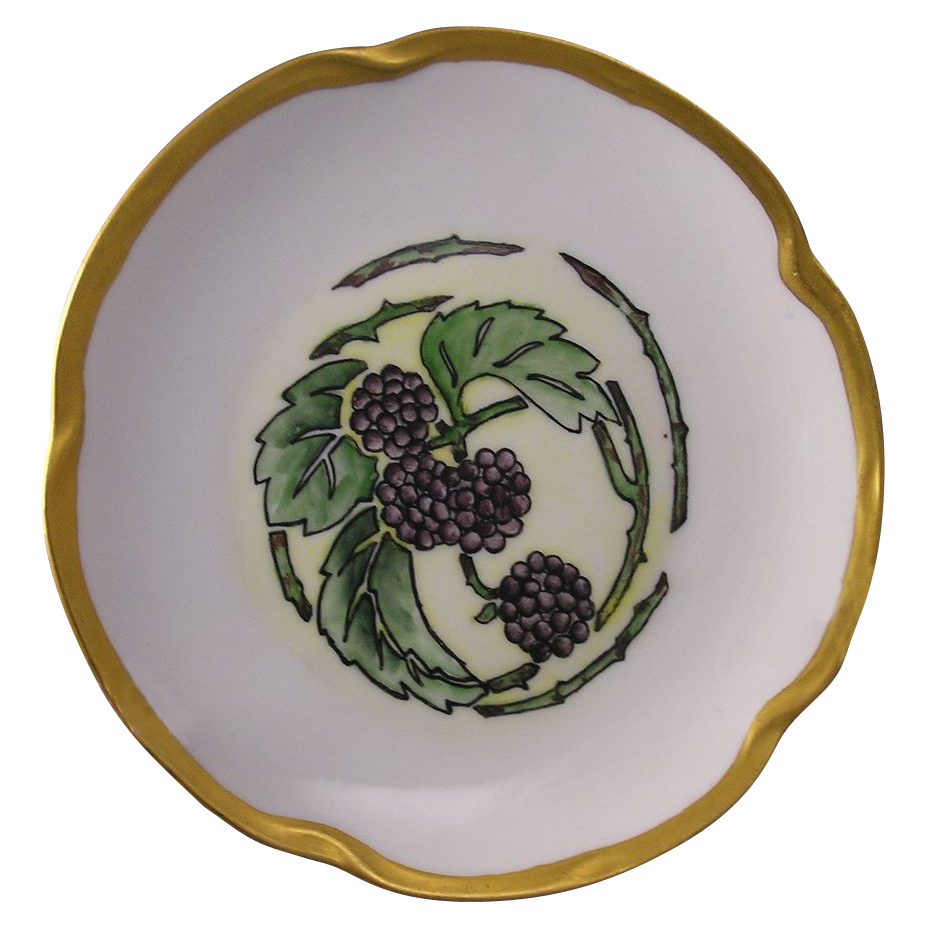 Jaeger & Co. (JC) Bavaria Arts & Crafts Blackberry Motif Plate (c.1913-1930) - Keramic Studio Design