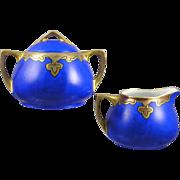 Oscar & Edgar Gutherz (O&EG) Austria Blue & Gold Creamer & Sugar Set (c.1899-1918)