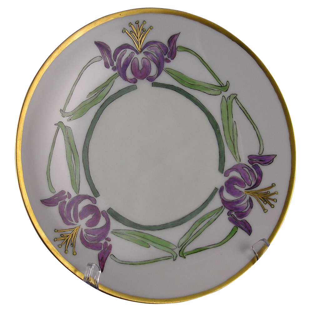 "Thomas Bavaria Arts & Crafts Floral ""Japanese Lily"" Design Plate Signed ""M. Pierre""/Dated 1914) - Keramic Studio Design"