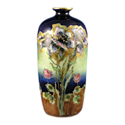 RStK Amphora Austria Enameled Poppies & Clover Motif Vase (c.1899-1905)