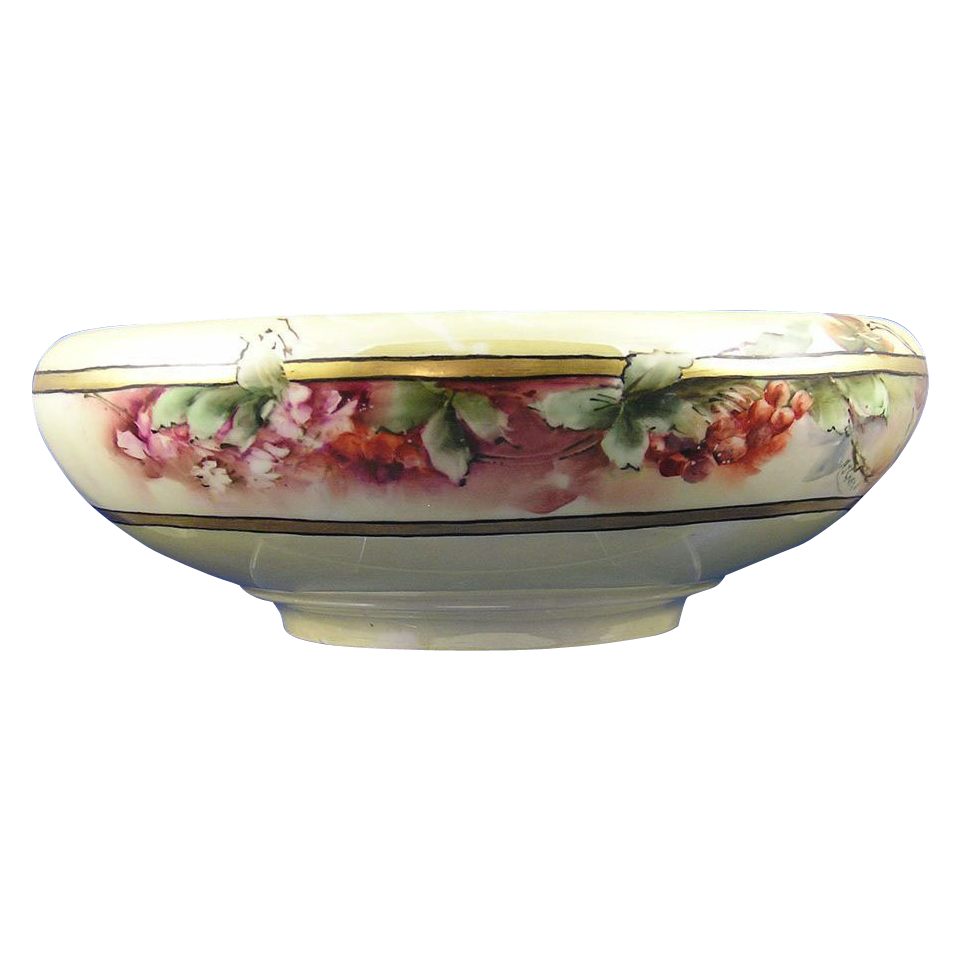 "Austrian Blank Arts & Crafts Currant Motif Centerpiece Bowl (Signed ""M.J. Cruse""/c.1910-1930)"