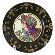 "Gerard, Dufraisseix & Abbot (GDA) Limoges Art Nouveau ""Privat Livemont Grape Woman"" Motif Plate (Signed ""M. Lemon""/c.1900-1941) - Keramic Studio Design"
