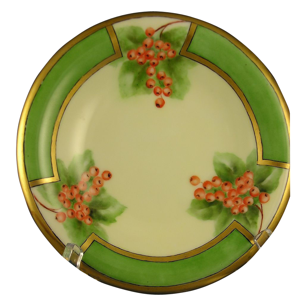 """Royal Bavaria Currant Motif Footed Dish (Signed """"E.H.""""/Dated 1918)"""