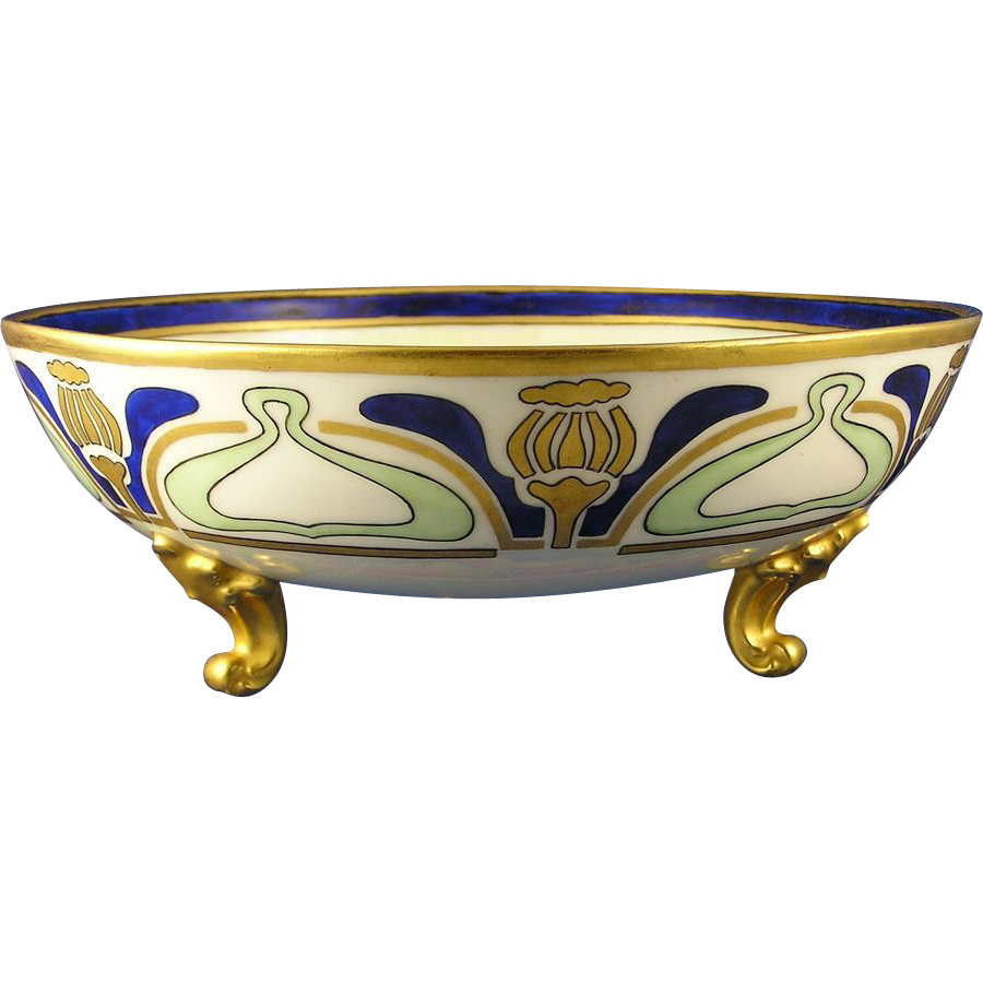 T&V Limoges Art Deco Floral Motif Footed Bowl (c.1892-1907)
