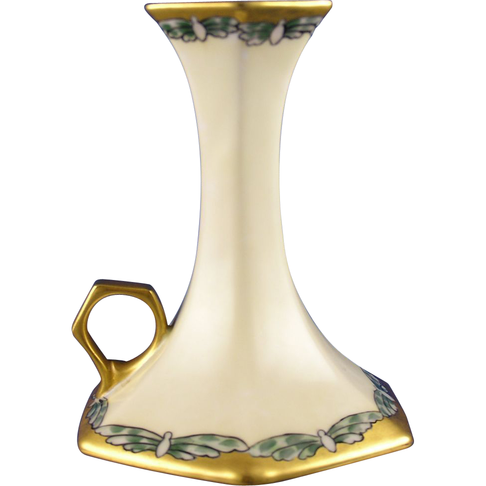 T&V Limoges Arts & Crafts Butterfly Motif Candlestick (c.1908-1930) - Keramic Studio Design