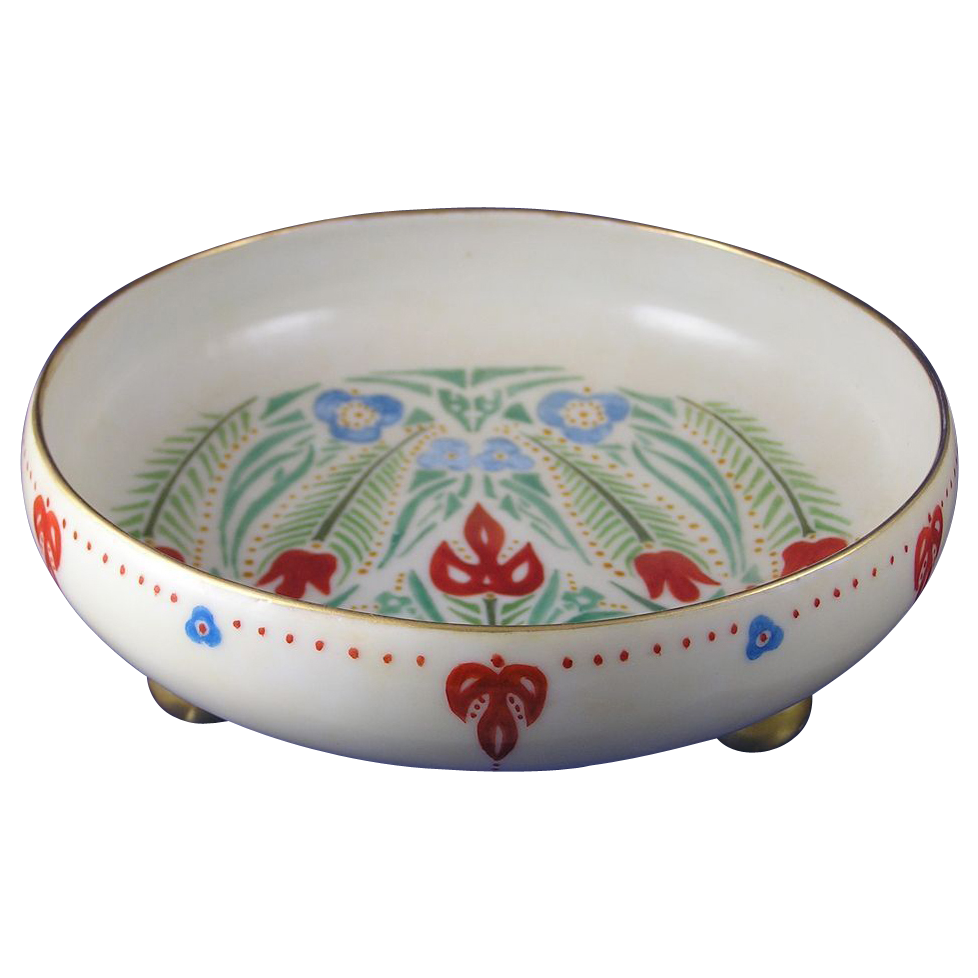 Pfeiffer & Lowenstein (P&L) Austria Arts & Crafts/Folk Art Design Footed Bowl (c.1914-1918)