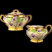 Gerard, Dufraisseix & Abbot (GDA) Limoges Stouffer Studio Violet Motif Creamer & Sugar Set (Signed/c.1906-1914)