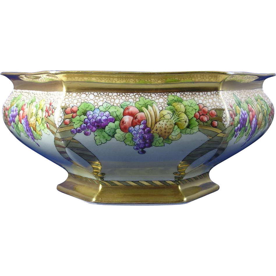 Delinieres & Co. (D&Co.) Limoges Fruit Design Centerpiece Bowl (c.1894-1900)