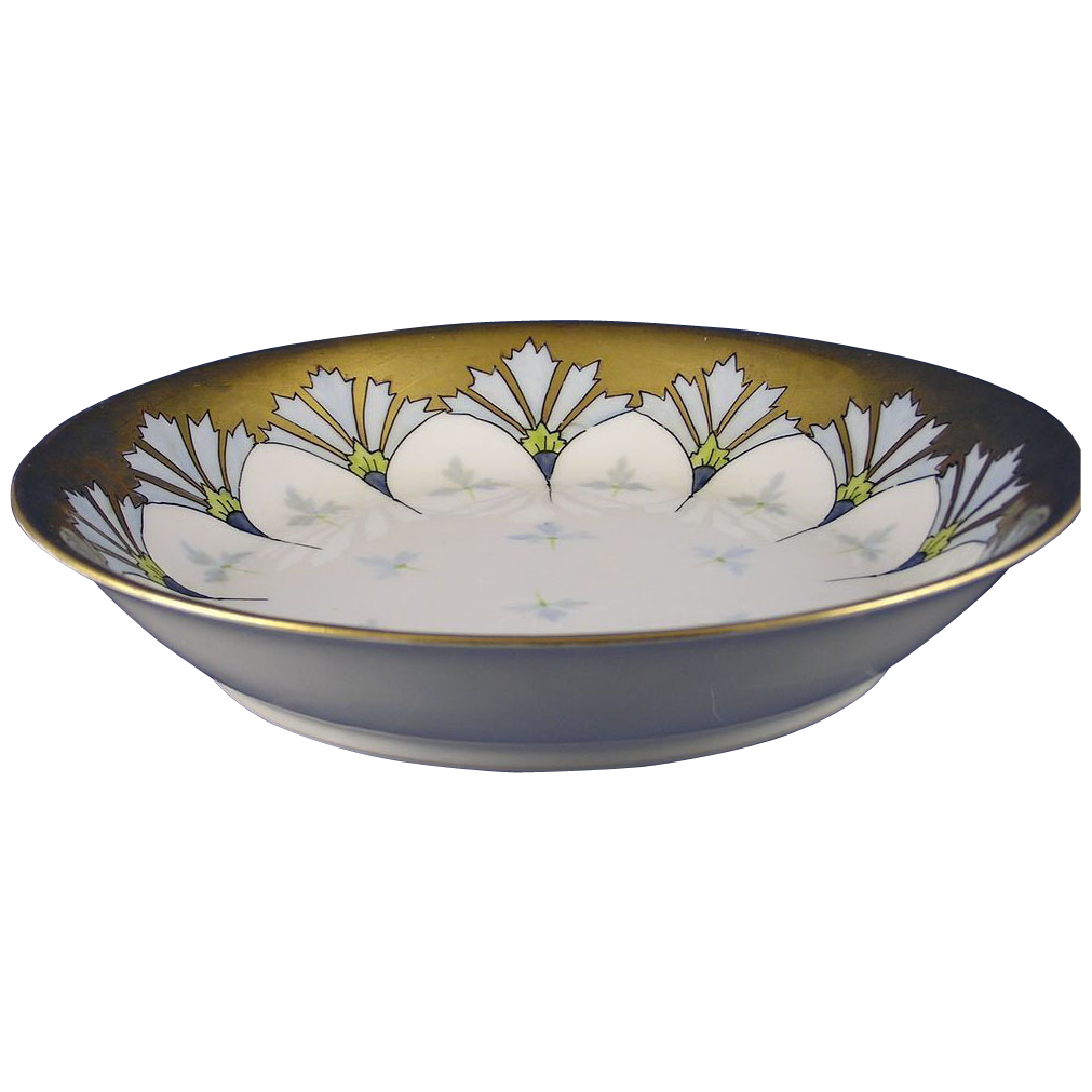 "Haviland Limoges Pickard Studios ""Cornflower Conventional"" Design Bowl (Signed ""Tolley"" for Harry E. Tolley/c.1905-1910)"