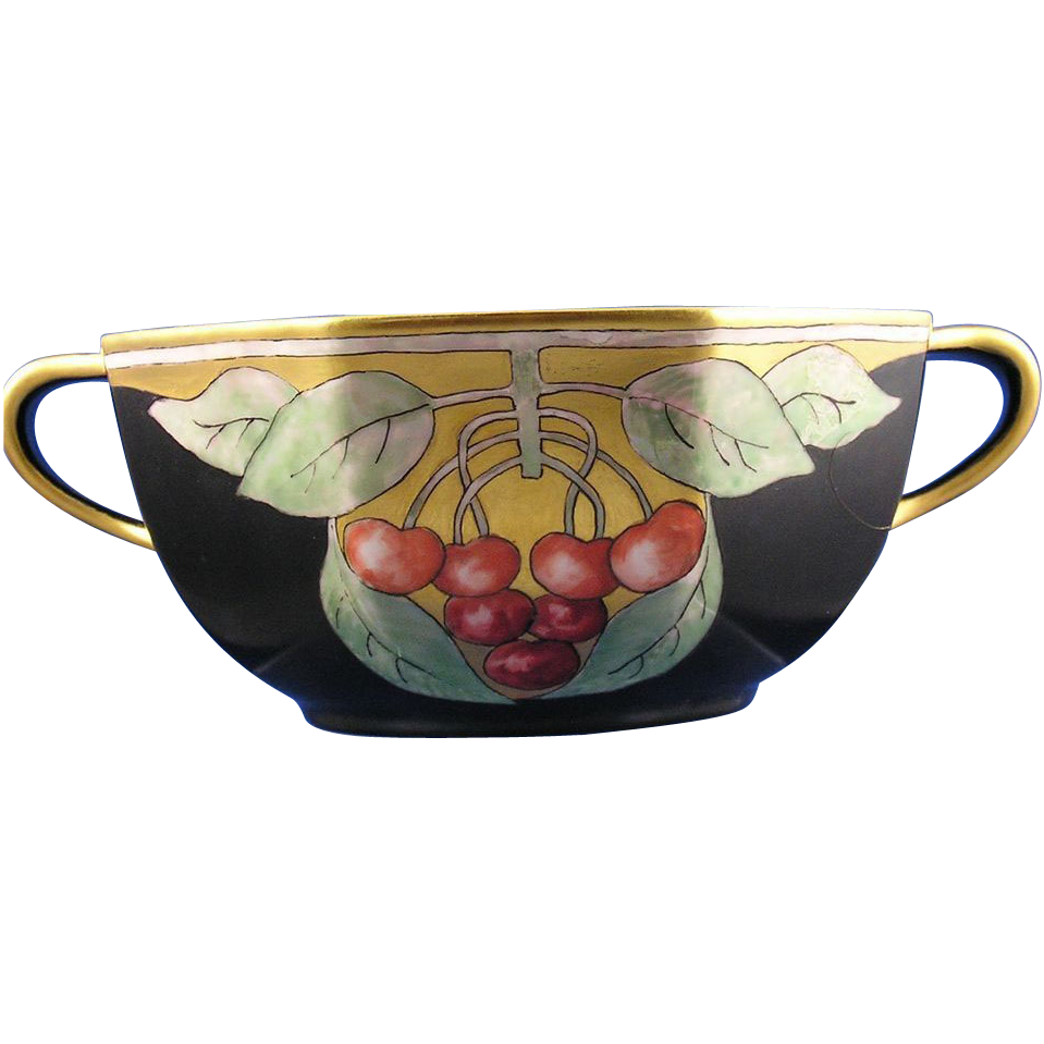 Japan Porcelain Art Deco Cherry Design Bowl (c.1910-1930)