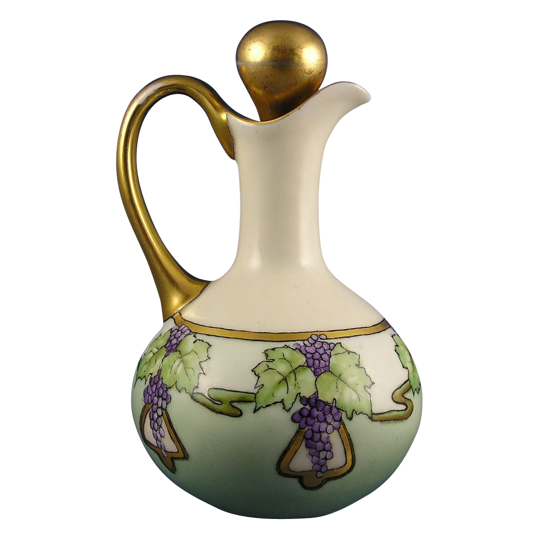 Limoges Blank Arts & Crafts Grape Motif Cruet (c.1910-1930)