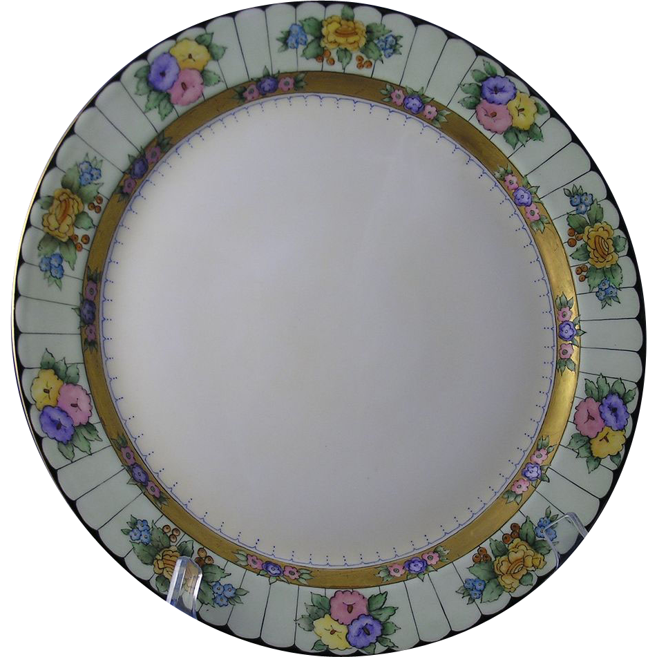 "Haviland Limoges Arts & Crafts Floral Motif Charger/Plate (Signed ""J.G. Benjamin""/c.1894-1931)"