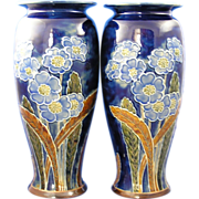 Royal Doulton Arts & Crafts Floral Motif Vase Pair (Signed by Florence C. Roberts/c.1923-1927)