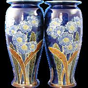 Royal Doulton Arts & Crafts Floral Motif Vase Pair (Signed by Florence C. Roberts/c.1923-1927)