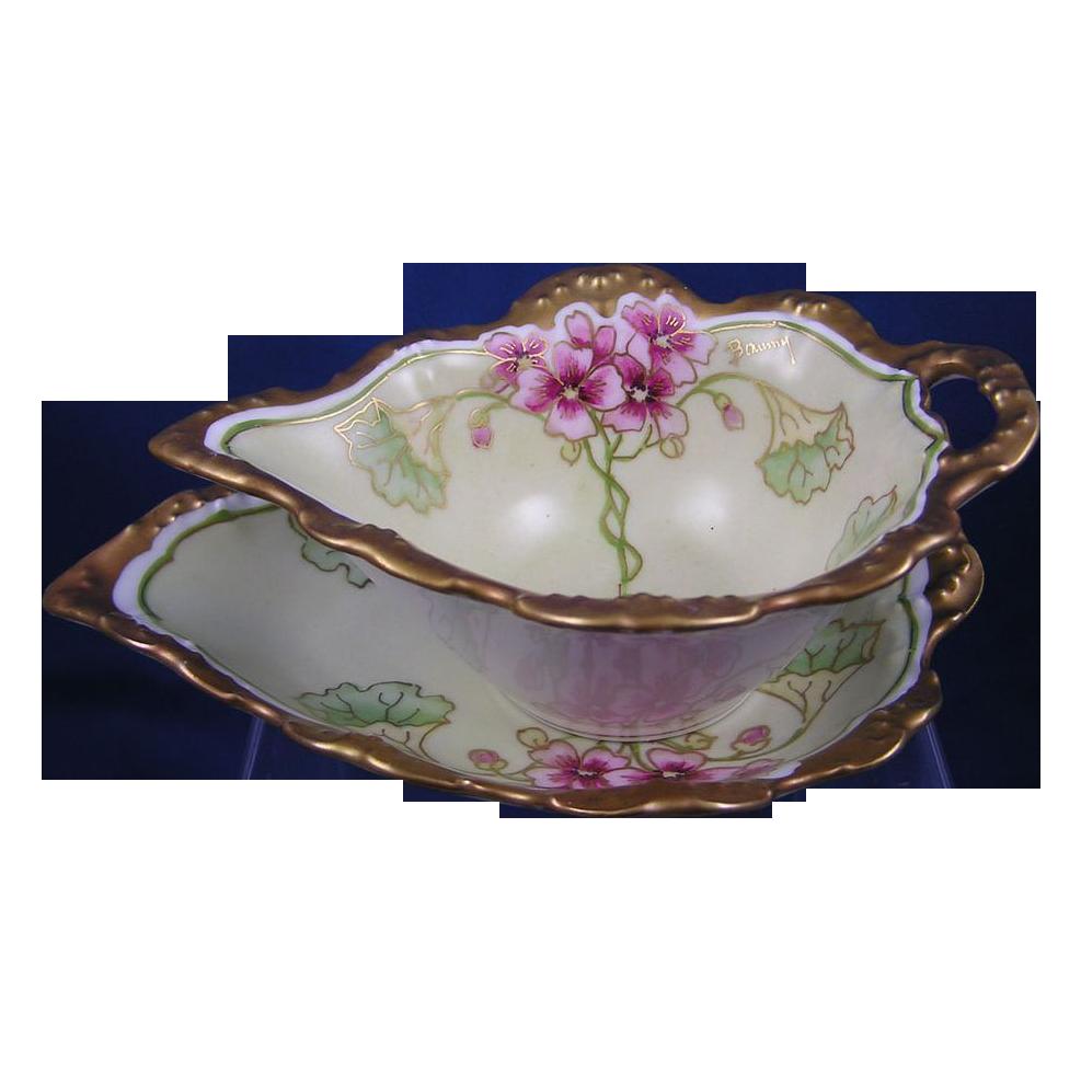 Blakeman & Henderson Limoges Floral Motif Sauce Dish & Under Plate (Signed/c.1900-1915)