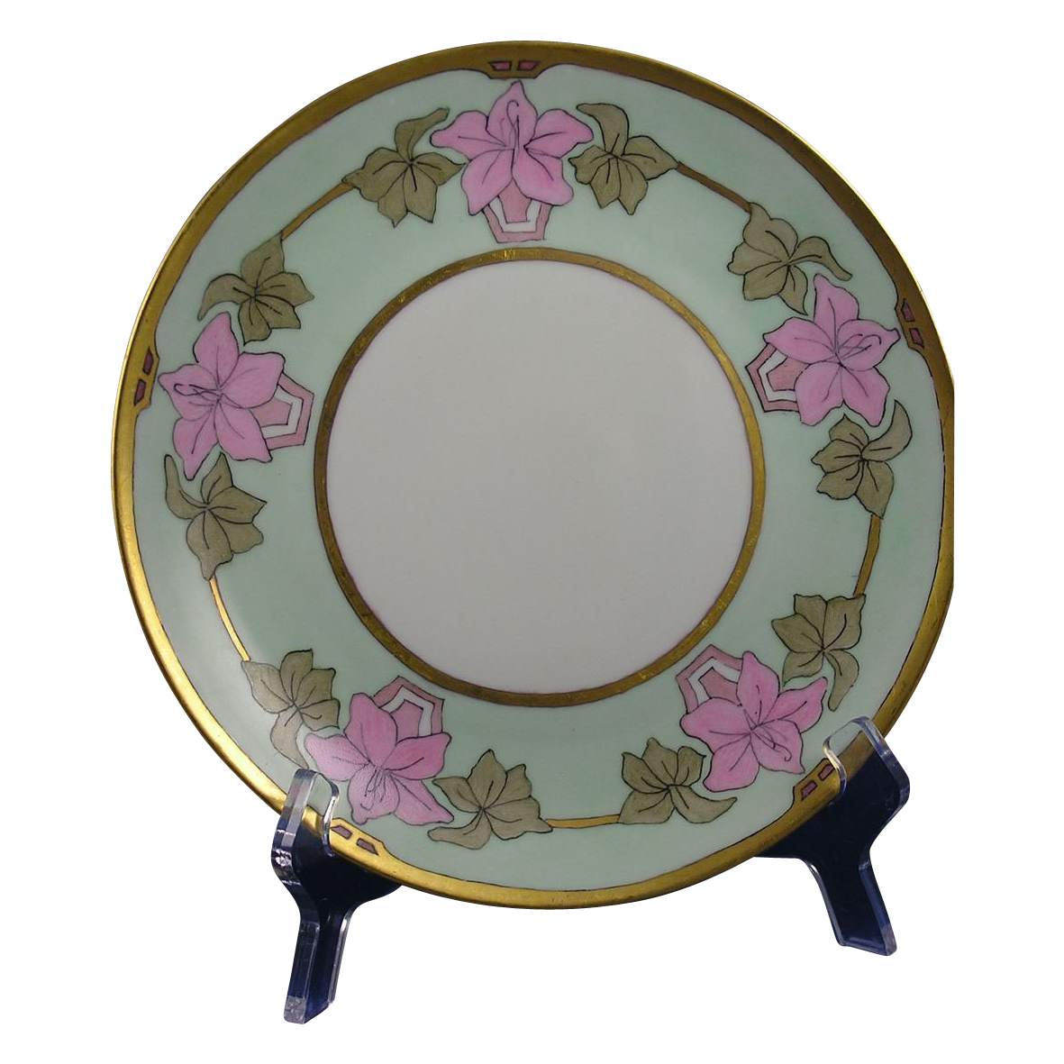 "Hutschenreuther Selb Bavaria Arts & Crafts Floral Design Plate (Signed ""Anna""/c.1920-1940)"