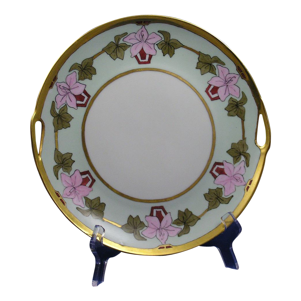 "Schumann Arzberg Bavaria Arts & Crafts Floral Design Handled Plate (Signed ""Anna""/c.1920-1940)"