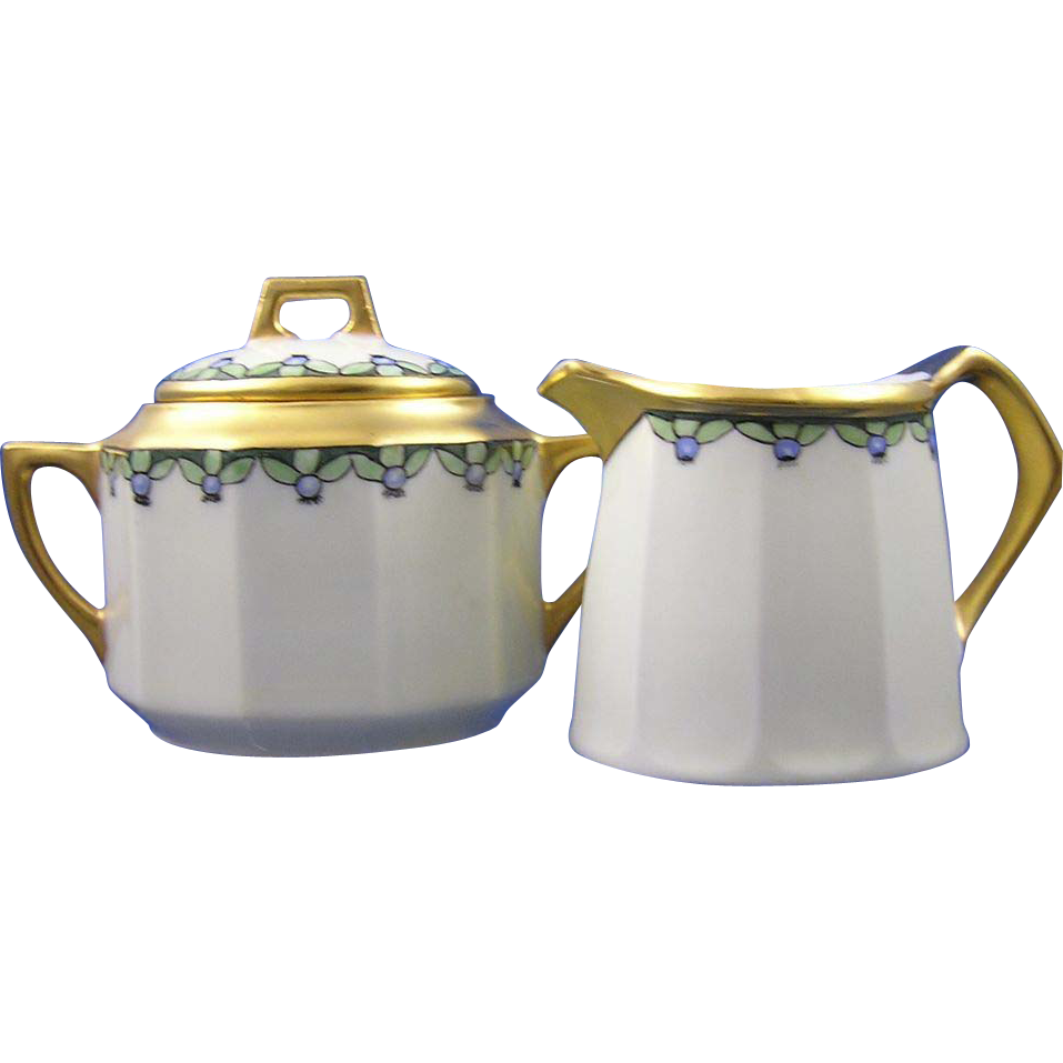 RS Germany & CT Altwasser Silesia Arts & Crafts Blueberry Design Sugar & Creamer Set (c.1915-1918)