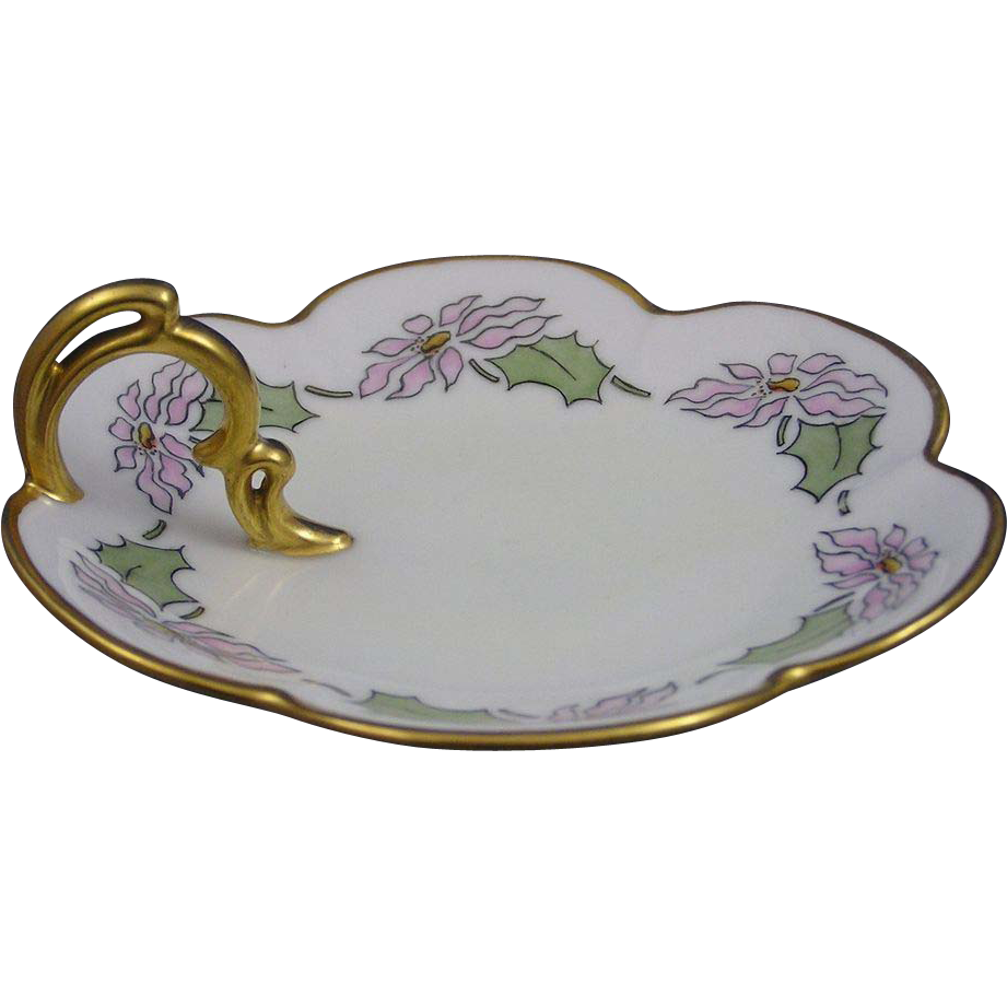 "Zeh Scherzer & Co. (ZS&Co.) Bavaria Arts & Crafts Flower Motif Lemon Server (Signed ""Farmer""/c.1880-1930)"