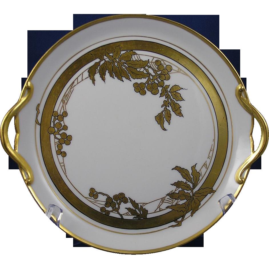Gerard, Duffraisseix & Abbott (GDA) Limoges Art Deco Gold Berry Motif Handled Plate (c.1900-1941)