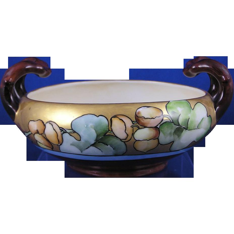 "Austrian Blank Arts & Crafts Acorn Motif Handled Bowl (Signed ""M.S. Rounds""/c.1910-1930)"