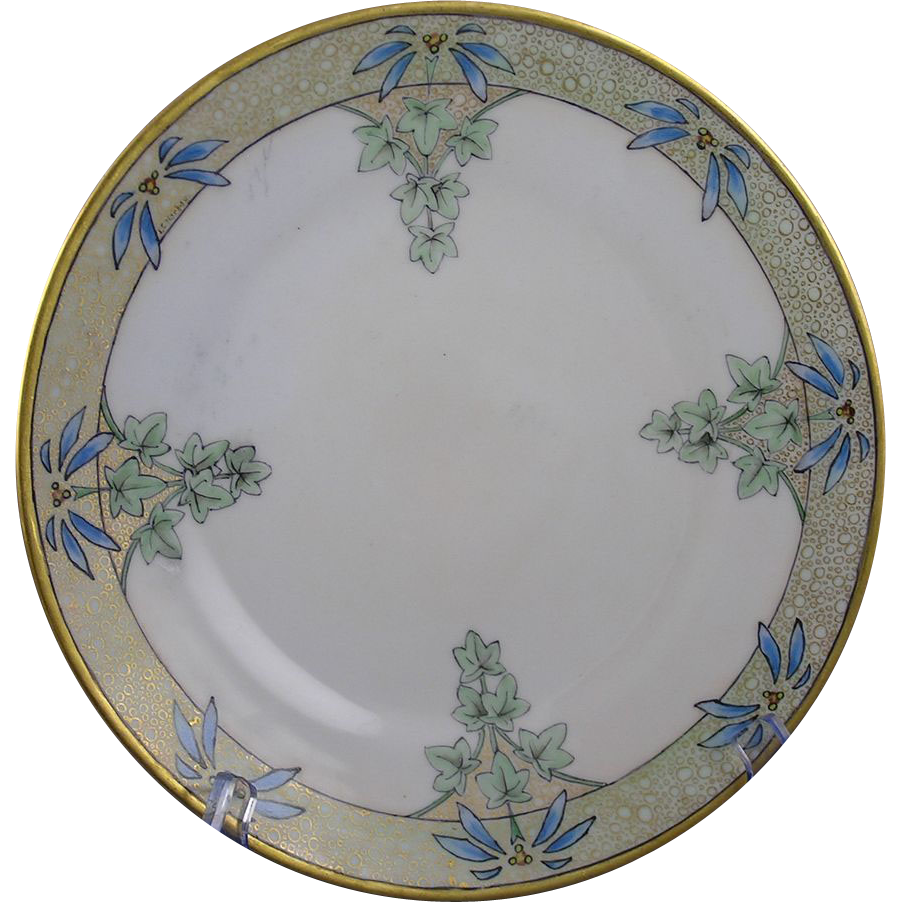 "Hermann Ohme Silesia Arts & Crafts Floral Motif Plate (Signed ""N. Amanda Johnson""/c.1882-1930)"