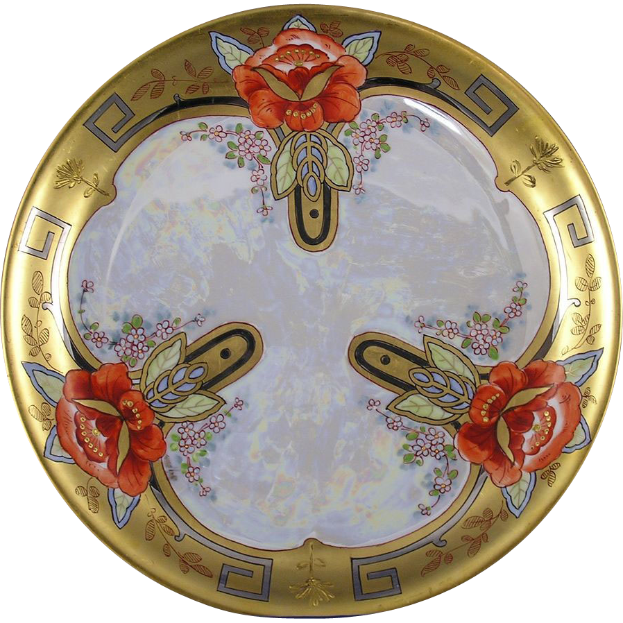 Hutschenreuther Bavaria Dahlia Design Charger/Plate (Signed/c.1897-1910)