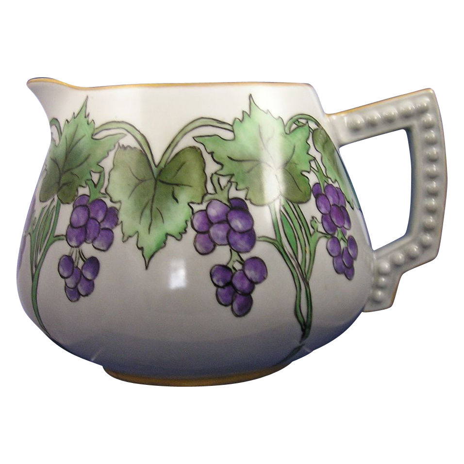 "Bavaria Arts & Crafts Grape Motif Pitcher (Signed ""Ruth Stout""/c.1910-1930)"