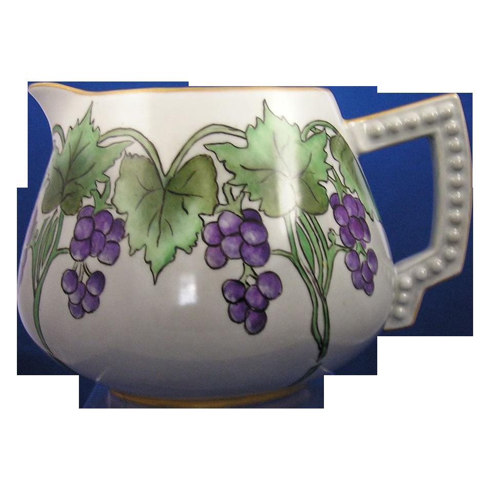 "Bavaria Arts & Crafts Grape Motif Pitcher (Signed ""Ruth Stout""/c.1910-1930)"